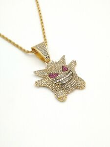 Iced Out Smiley Pokemon Gengar Gold Color Pendant Necklace Chain