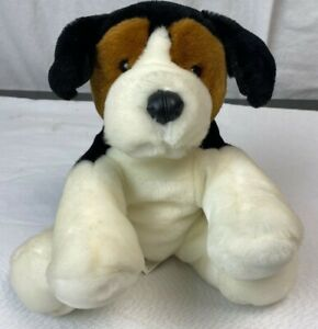Toys R Us Animal Alley Dog Plush Toy Stuffed brown blk cream faux leather nose