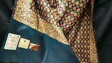 Kashmiri Silk Shawl Wrap Paisley Design With Tags Green Gold Maroon Size 48x104