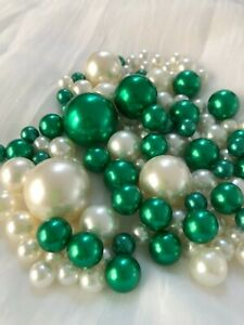 Emerald Green Ivory Vase Filler Pearls 80pc Floating Pearl Decor, Table Scatter