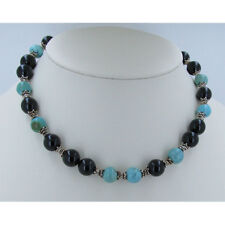 925 Sterling Silver Natural #8 Mine Turquoise Black Onyx Beaded Necklace