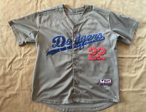 Los Angeles Dodgers Clayton Kershaw 22 Gray Majestic Jersey Sz 52 XXL - Vintage