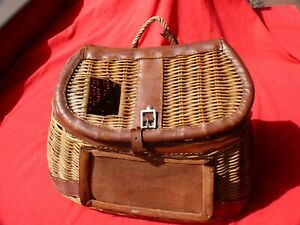 Vintage Leather Trimmed WICKER TROUT FISHING CREEL Extra Large Sized Version