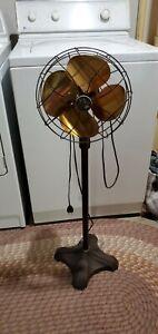Vintage Emerson/Electric Pedestal Floor Fan Art Deco!, no. 6250-AK, works great
