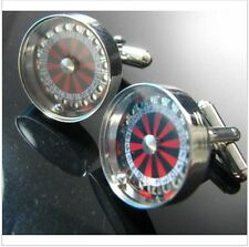 miniature round Roulette Wheels casino ball gambling luck men's Cufflinks gift