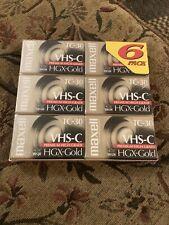 Maxell TC-30 VHS-C Premium High Grade HGX-Gold 6 Pack VHSC Cassette Tapes NEW
