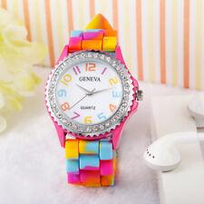 Geneva Rainbow Crystal Rhinestone Watch Silicone Jelly Link Band Wrist Watch CA
