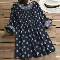Womens Polka Dot Loose Long Sleeve Shirt Blouse Ladies Button Pullover Tops AB