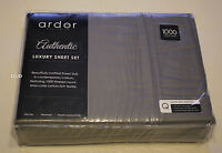 Ardor Home Charcoal Grey Queen Bed Cotton Rich 1000 Thread Count Sheet Set New