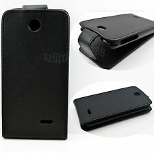 Flip Design Cell Phone Black Leather Skin Cover Case Shield For HTC Desire 310
