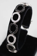 Estate Sterling Silver Black and White Cubic Zirconia Circle Bracelet