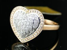 Ladies 17 Mm Rose Gold Diamond Promise Love Heart Ring