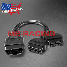 New OBD2 OBD II Splitter Extension Y J1962 16 Pin Cable Male to Dual Female 30cm