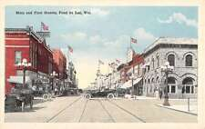 Fond Du Lac Wisconsin Main And First Street Scene Antique Postcard K63292