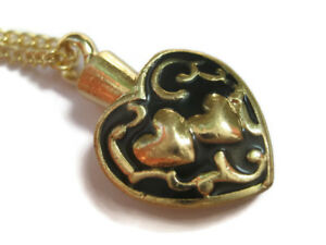 Golden Two Hearts Cremation Keepsake Pendant Jewellery Necklace Urn