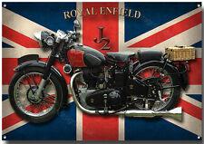 ROYAL ENFIELD J2 MOTORCYCLE METAL SIGN.(A3) SIZE.VINTAGE ROYAL ENFIELD M/C'S