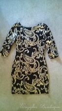 Paisley Crew Neck Party Stretch, Bodycon Dresses for Women