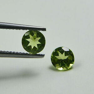 2 Pcs Of 7x7 mm Natural Peridot Faceted Round Gemstone For Jewelry Supply P-401
