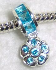 Sterling Silver Hanging Charm TURQUOISE CRYSTALS HANGING CHARM FLOWER bead