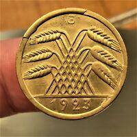 1923 G Germany 50 Rentenpfennig, KM# 34, UNCIRCULATED, KEY DATE RARE COIN!