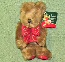 "VINTAGE HARRODS CHRISTMAS BEAR 1997 TEDDY + HANG TAG 10"" TAN RED PUFFY RIBBON"