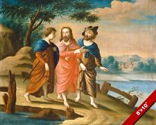 JESUS CHRIST ON THE ROAD TO EMMAUS PAINTING BIBLE ART REAL CANVAS GICLEEPRINT