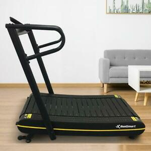 Curved Non-Motorized Smooth Self Generating Folding Treadmill