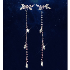 Long Korean Style Silver Plated Tassel Leaves Zircon Stud Fashion Earring Gift F