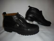 Polo RL #1934 Black Leather Ankle Boot Style Buckle Lace Shoe ~Men's (9 M)