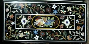 Black Conference Table Top Marble Dining table Inlay Art with Multi Color Stones