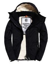 Superdry Hombre Cazadora cortaviento con capucha Sherpa Negro