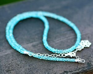 """Natural Green Apatite Necklace Solid Sterling Silver 925 , 18.3"""" - 19.5"""""""