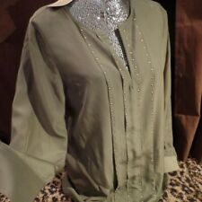 Michael Kors Women's Blouse L/S Shirt Gold Studs Safari Green NWT $99.50 Size 4
