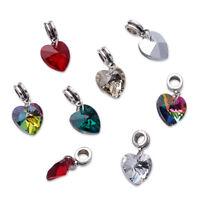 50Pcs Electroplated Glass Heart Pendants Large Hole Alloy European Dangle Beads