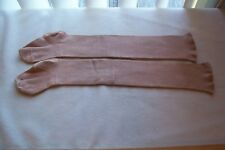 1 Pair Antique Long Childs Brown Cotton Stockings Collectible/Dolls Cutters