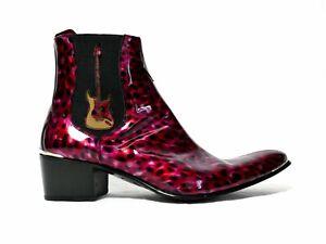Jeffery-West MUSE Sylvian 'ELECTRO' Burgundy Leopard Patent Chelsea Boot