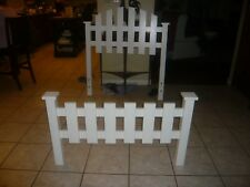 $319.99 White Picket Fence Twin 4 Post Bed Headboard Footboard Used PICKUP ONLY
