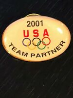 Vintage Collectible Olympic 2001 USA Team Partner Metal Pinback Lapel Hat Pin
