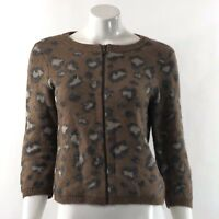 Ann Taylor LOFT Womens Cardigan Sweater Size Medium Brown Gray Animal Print Zip