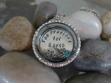 Floating Locket necklace in Memory of baby memorial custom plate charms wings