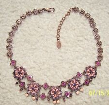 SATELLITE PARIS ROSE/MAUVE RIBBON W/ CRYSTALS  & SEQUINS NECKLACE