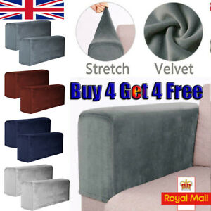 Stretch Velvet Chair Arm Protector Covers Armchair Cover Armrest Sofa Couch Soft