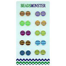 Aztec Pattern Magnetic Clip on Stud Earrings For Teenage Little Girls Kids Women