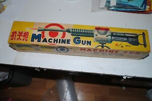 Machine Gun Tin China BATTERY OPERATED  Machine GUN TRI-POD  Toy MF 138 with Box