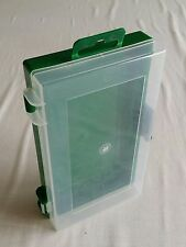Plastic display Box, Case, Storage, with hinge. 10cm x17cm x3.5cm deep.