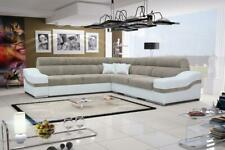 Luxurious Aston Designer Leather Fabric Corner Sofa Bed