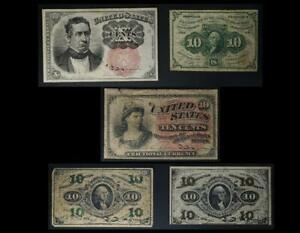 10 Cent Fractional Currency Set of 5 Different Notes No Reserve Auction 99C Open