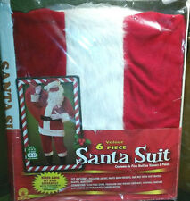 9pc velour Santa ClauS COSTUME Suit sz XL fits jacket 54 w/ paded belly stuffer