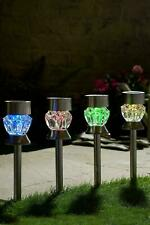 Set of 4 Solar LED COLOUR CHANGING Light Stakes Garden Lawn Path Party Table