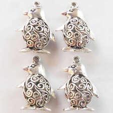 4pcs Delightful Tibet silver penguin Charm Pendant Bead 24x34x13mm XJ036